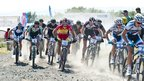 The senior men's race gets under way at the British Cycling Mountain Bike Cross-Country Championships in Glasgow