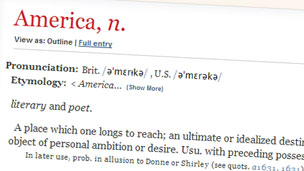 OED extract on America