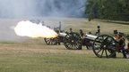 Members of the Kings Troop Royal Horse Artillery fire a 41-gun salute in Green Park, central London,  to mark the birth of the royal baby