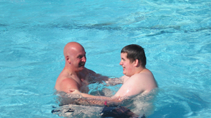 Mark Neary and Steven in the pool