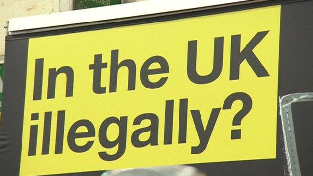 Van with immigration advert