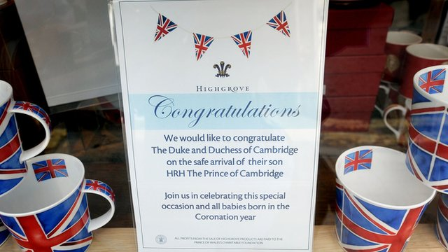 A message in the window of the Highgrove shop in Tetbury, Gloucestershire, celebrating the birth of the royal baby.