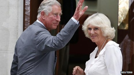 Prince of Wales, Duchess of Cornwall arrive at the Lindo Wing of St Mary's hospital on 23 July 2013