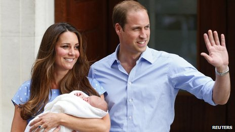 The Duke and Duchess of Cambridge with their baby son