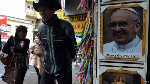 Stall selling pictures of the Pope in Aparecida, Sao Paulo state