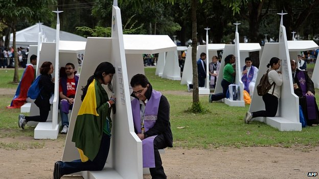 Confessionals set up in the Quinta da Boa Vista Park, Rio. 23 July 2013