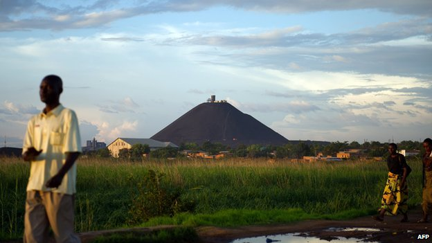 A view over the massive slag heap, which has become the symbol of DR Congo's Lubumbashi city, taken on 1 December  2011