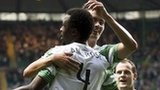 Efe Ambrose celebrates his goal