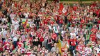 Cliftonville fans show their support for the team after the 2-0 defeat by Celtic sent the Reds out 5-0 on aggregate
