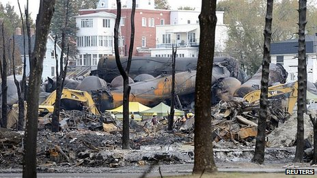 Wreckage of oil tankers in Lac-Megantic, Quebec. 16 July 2013
