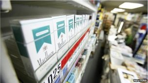 Menthol cigarettes on a shop shelf, file picture