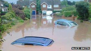 Car underwater in Southwell