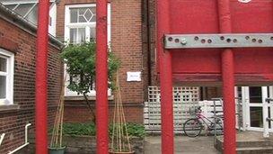 Locked gates at centre