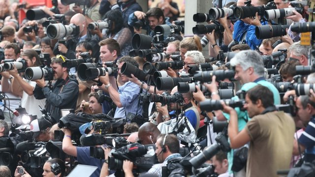 Photographers outside St Mary's Hospital