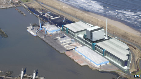 Computer-generated aerial view of the North Blyth biomass power station