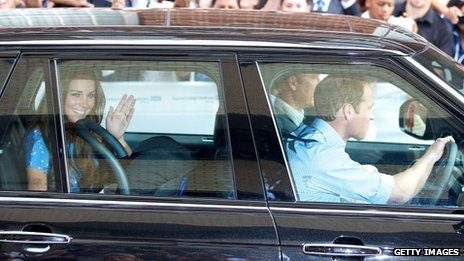 Duchess of Cambridge and her husband leave hospital with their baby