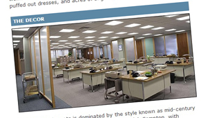 A screengrab of a previous Magazine article about Mad Men, showing rows of desks with typewriters
