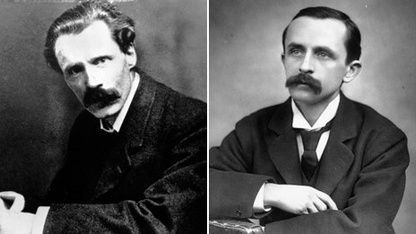 Two posed photos of George Gissing and JM Barrie from the turn of the 20th century