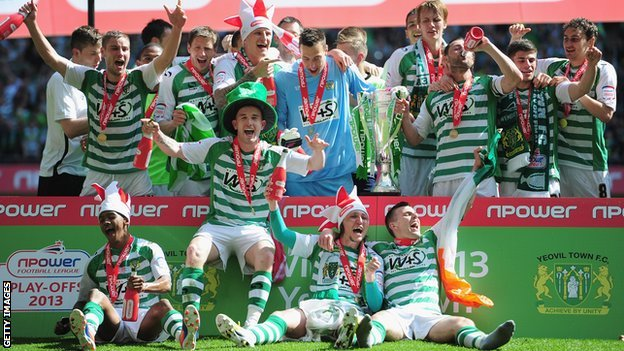 Yeovil players celebrate winning League One play-off final