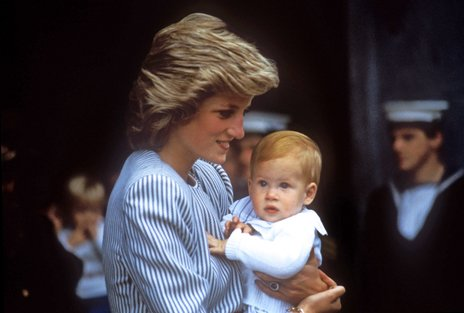 Princess Diana carrying Prince Harry as a baby