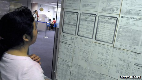 File photo of a woman looking at employment opportunities in a Hong Kong job centre in 2009