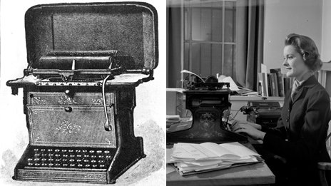One photo shows the first Remington typewriter made in 1873. The second image is of a secretary modelling the earliest typewriter in about 1950