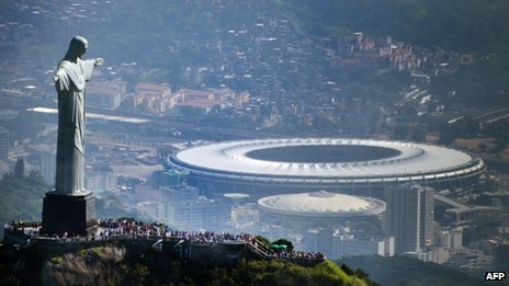 Rio's Maracana stadium as seen in the distance from the statue of Christ the Redeemer