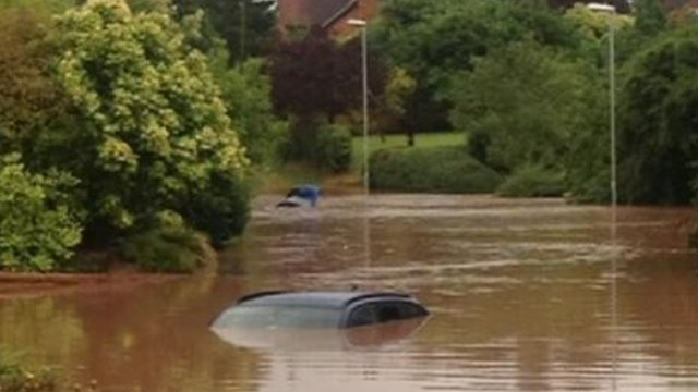 Cars underwater in the floods