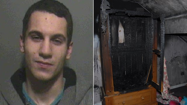 Dyson Allen and the wardrobe in which he started the fatal fire