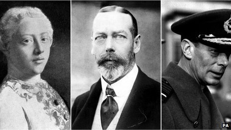 Composite file photo of King George III, King George V and King George VI