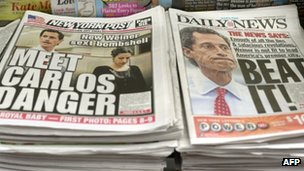 A Times Square newsstand with local papers displaying headlines on 24 July 2013
