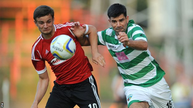 Action from the first leg of TNS v Legia Warsaw
