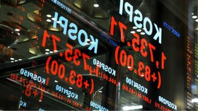 A stock index board in South Korea