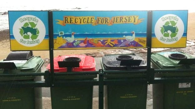 Recycling bins on Jersey beach