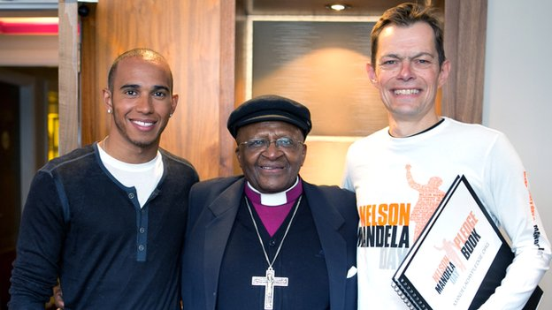 Chris Ward with Lewis Hamilton and Desmond Tutu
