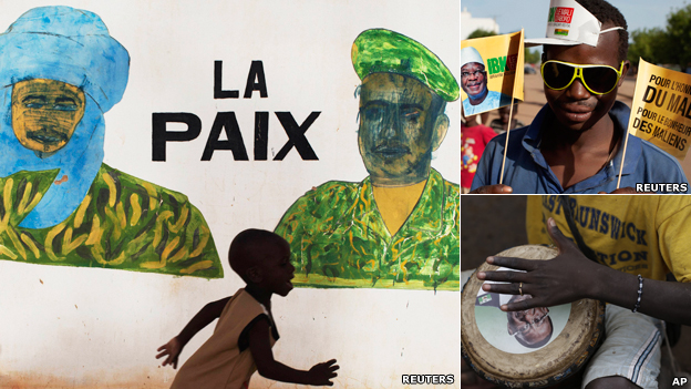 "Left: A child runs in front of a mural that reads ""Peace"", in Timbuktu on 24 July  2013. Top right: A supporter of presidential candidate Ibrahim Boubakar Keita. Bottom right: A drumming supporter  of presidential candidate Soumaila Cisse"