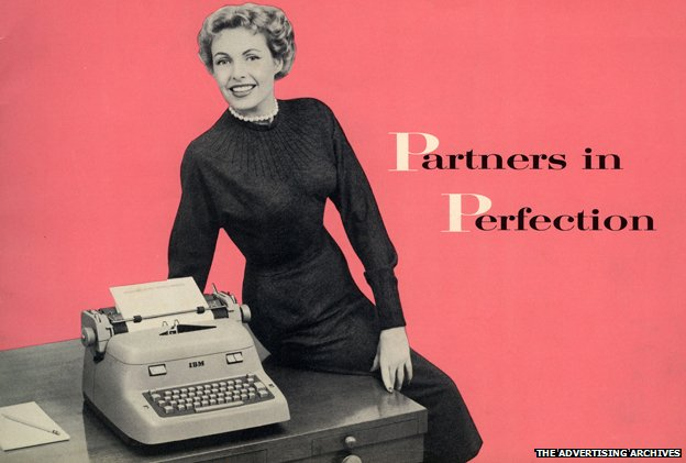 "An advert from the 1940s showing a woman perched on a desk with a typewriter on it, beside the tagline ""Partners in Perfection"""