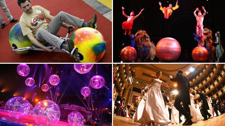 Four photos of various balls: one being used as a two-wheeled vehicle; three circus performers jumping on them; couples dancing at a formal Austrian dancing ball; Various performers inside see-through balls;