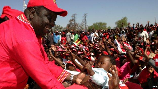 Morgan Tsvangirai at a rally in Gweru on 21 July 2013