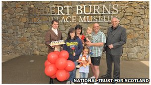 One millionth visitor at Burns Museum