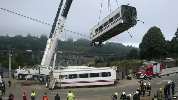 Train crash wreckage near Santiago de Compostela in Spain