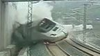 Trackside camera shows train derail