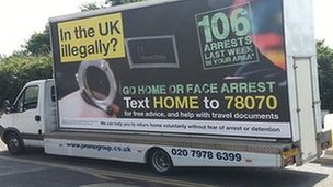 Illegal immigrant advert van