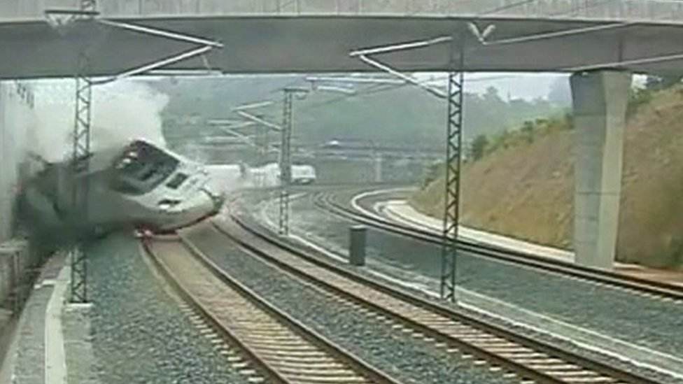 A still from footage from a trackside camera apparently shows the moment the train derailed