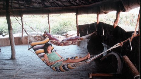 Judith Tebbutt relaxing in a hammock on holiday before the kidnap