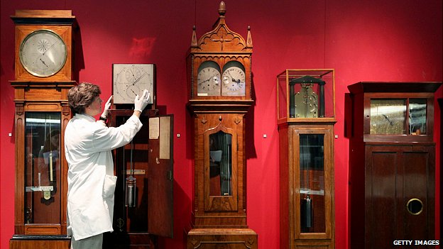 Adjusting clocks at the Science Museum in London