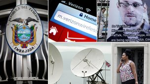 Ecuadorian embassy, Verizon wi-fi, Snowden poster, woman on a phone. GCHQ satellites