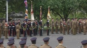 The ceremony to mark Yorkshire Regiment merger