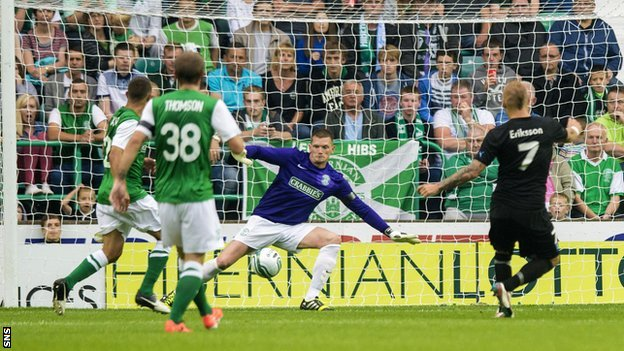 Magnus Eriksson scores for Malmo against Hibernian