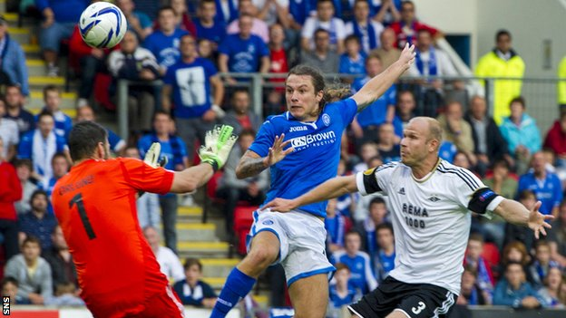 Stevie May scores